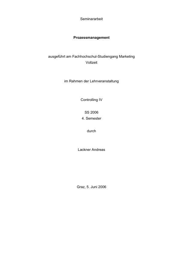 Titel: Prozessmanagement