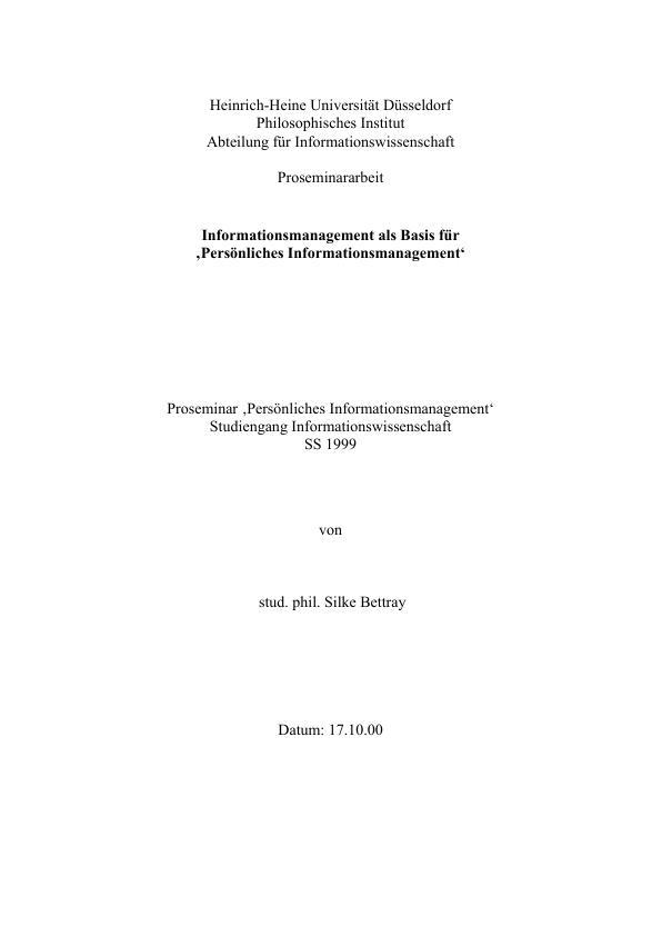 Titel: Informationsmanagement als Basis für 'Persönliches Informationsmanagement'