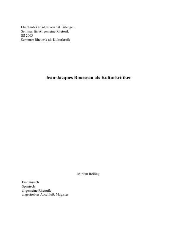 Titel: Jean-Jacques Rousseau als Kulturkritiker