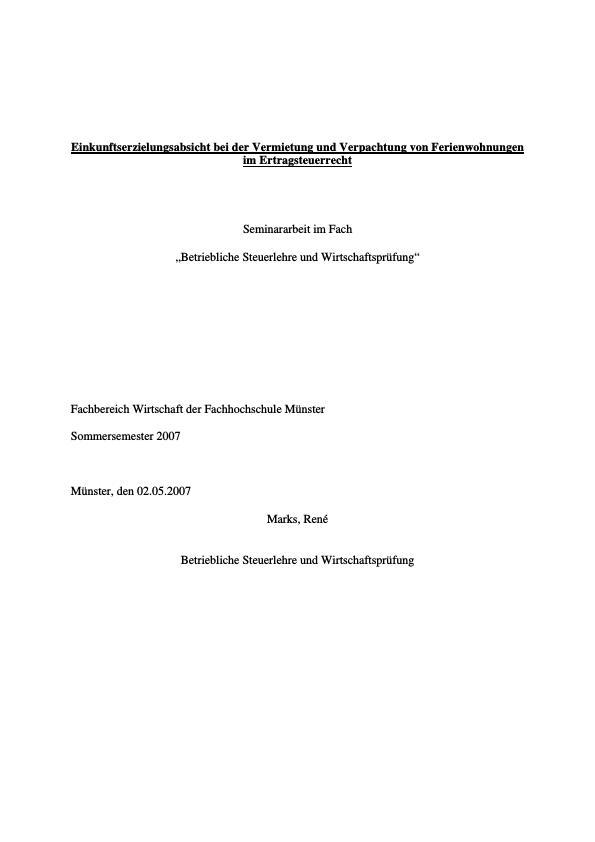 Titel: Einkunftserzielungsabsicht bei der Vermietung und Verpachtung von Ferienwohnungen im Ertragsteuerrecht