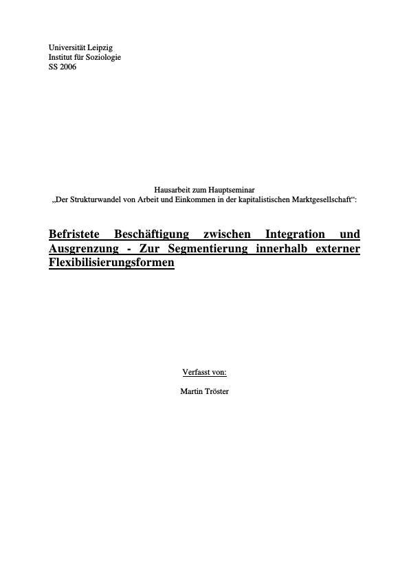 Titel: Befristete Beschäftigung zwischen Integration und Ausgrenzung