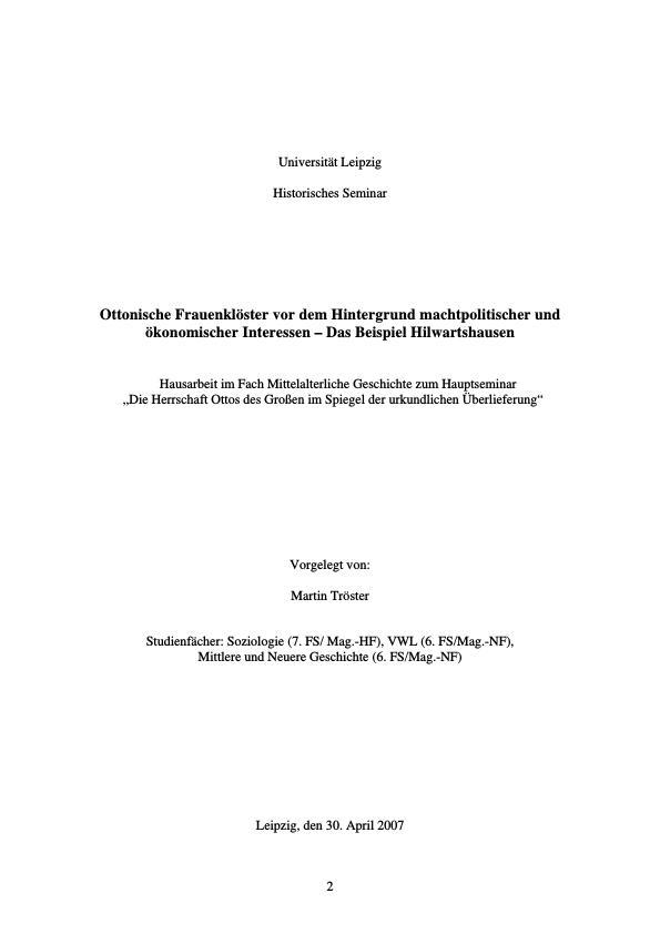 Titel: Ottonische Frauenklöster vor dem Hintergrund machtpolitischer und ökonomischer Interessen   -  Das Beispiel Hilwartshausen