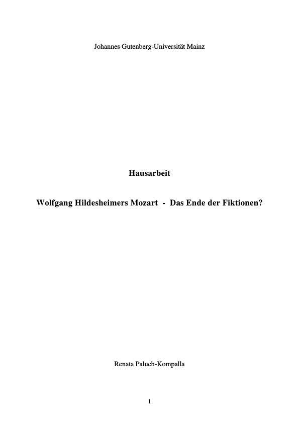 Titel: Wolfgang Hildesheimers Mozart - Das Ende der Fiktionen?