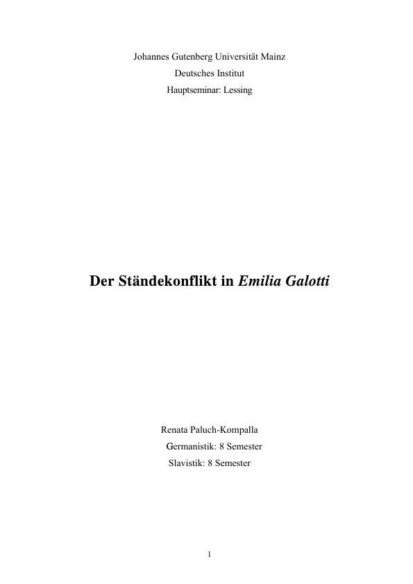Titel: Der Ständekonflikt in Emilia Galotti