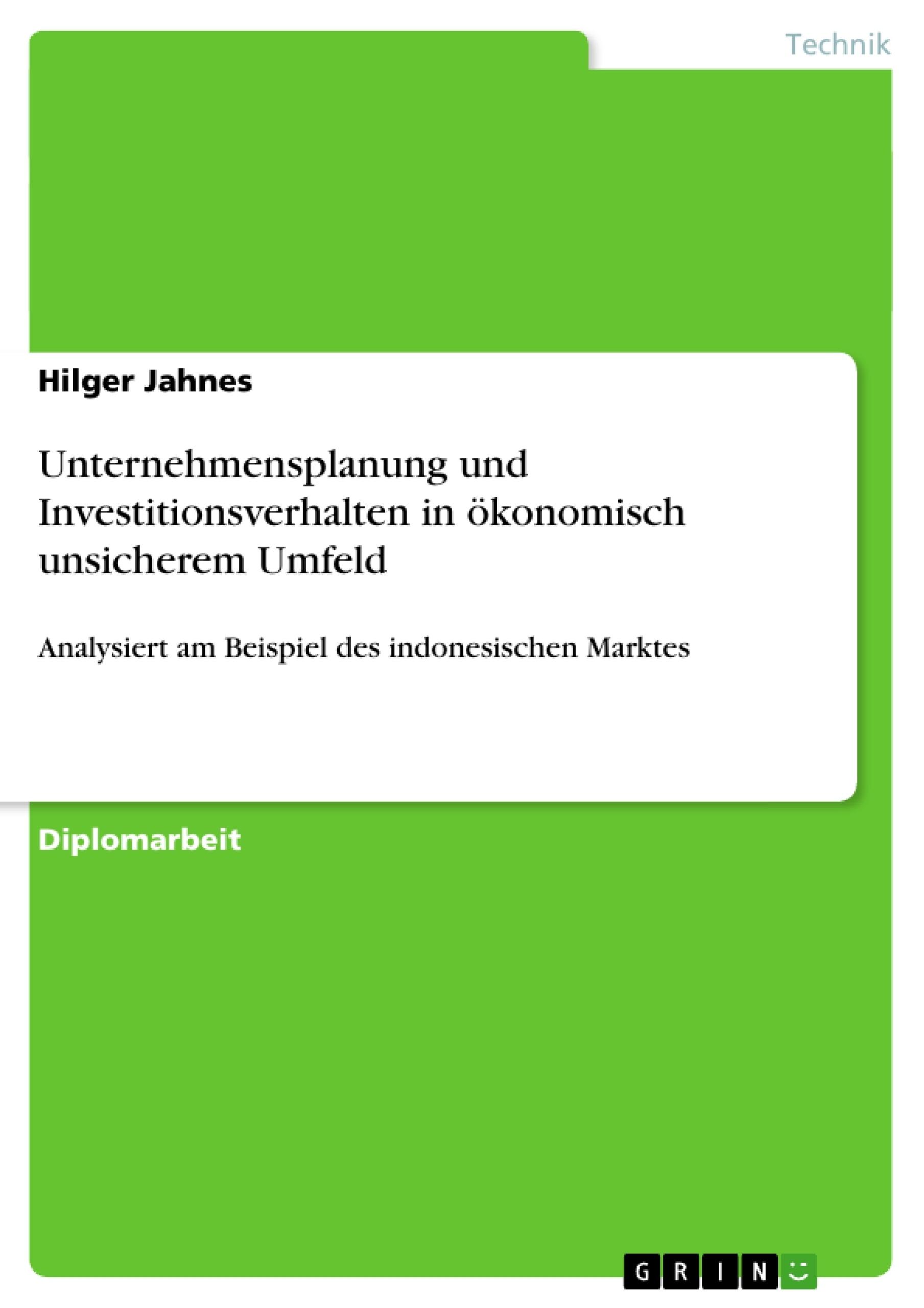 Titel: Unternehmensplanung und Investitionsverhalten in ökonomisch unsicherem Umfeld