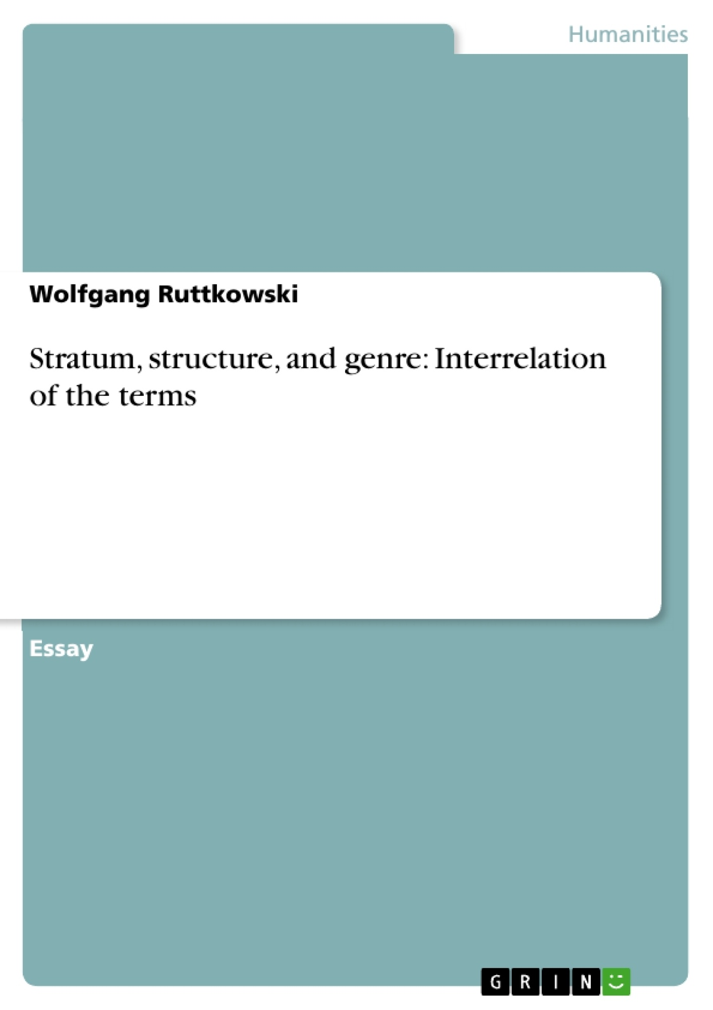 Title: Stratum, structure, and genre: Interrelation of the terms