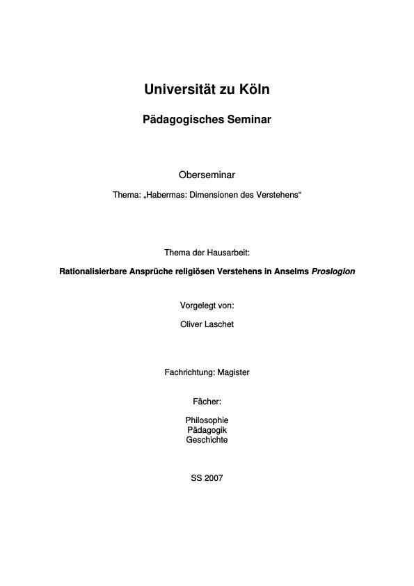 Titel: Rationalisierbare Ansprüche religiösen Verstehens in Anselms Proslogion