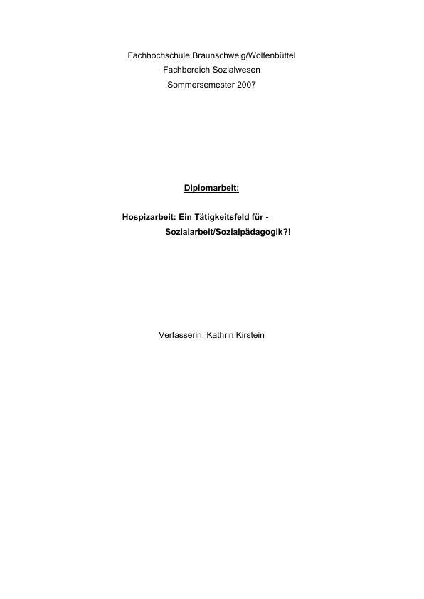 Titel: Hospizarbeit: Ein Tätigkeitsfeld für Sozialarbeit / Sozialpädagogik?!