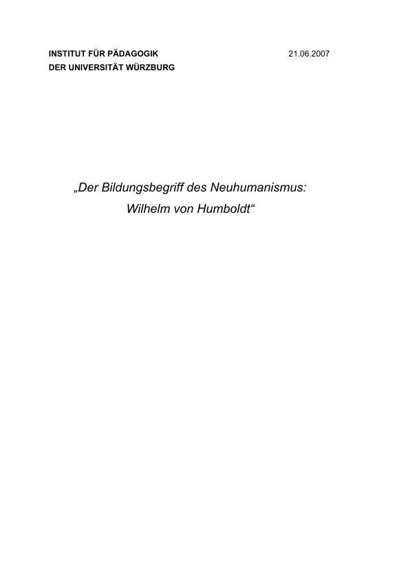Titel: Der Bildungsbegriff des Neuhumanismus. Wilhelm von Humboldt
