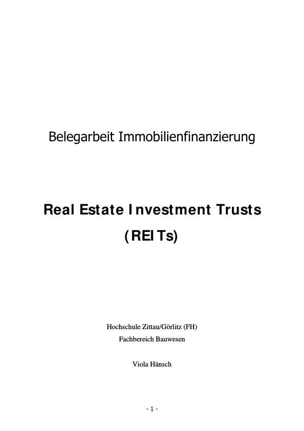 Titel: Real Estate Investment Trusts - Charakteristika und  Position von REITs in Deutschland und Ausland