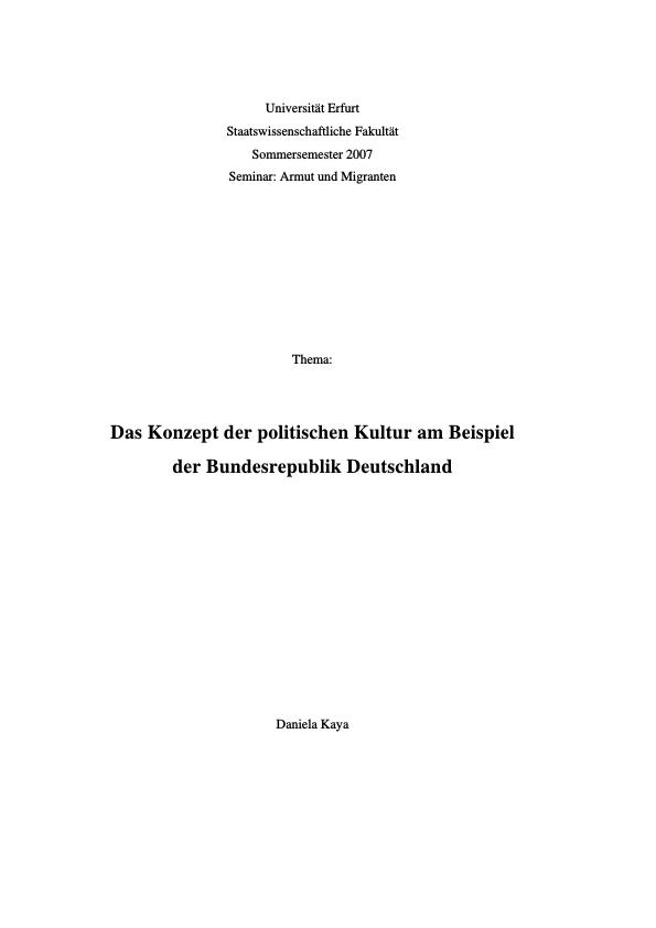 Titel: Das Konzept der Politischen Kultur am Beispiel der Bundesrepublik Deutschland