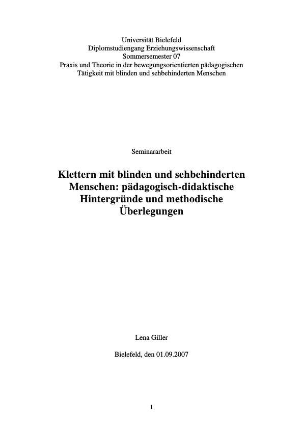Titel: Klettern mit blinden und sehbehinderten Menschen  -  Pädagogisch-didaktische Hintergründe und methodische Überlegungen