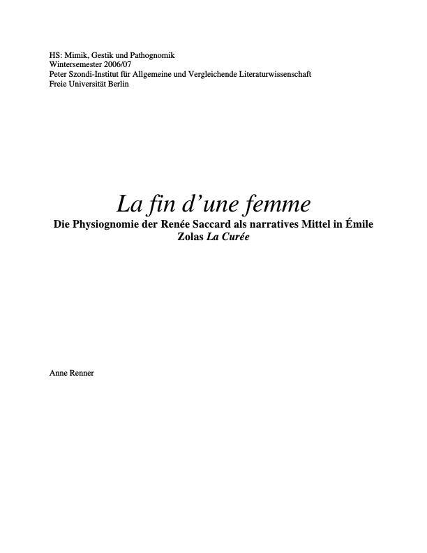 Titel: La fin d'une femme