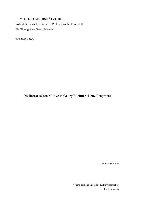 Titel: Die literarischen Motive in Georg Büchners Lenz-Fragment