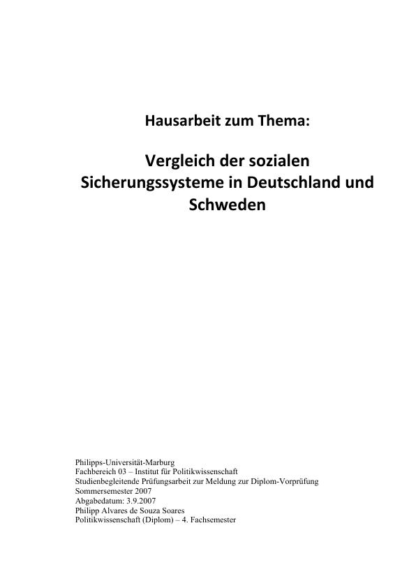 Titel: Soziale Sicherungssysteme. Vergleich Deutschland - Schweden
