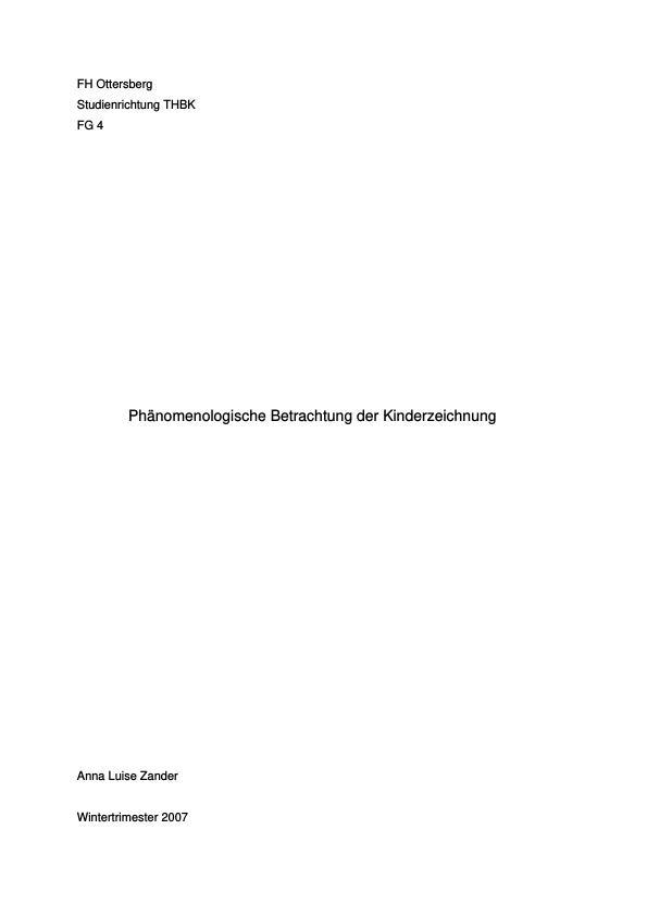 Titel: Die phänomenologische Betrachtung der Kinderzeichnung
