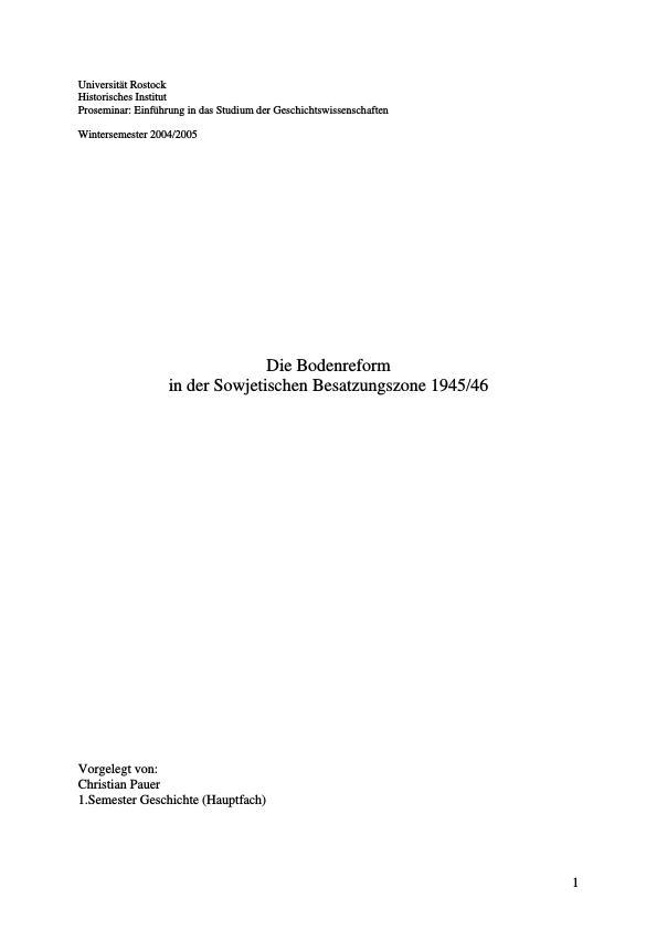 Titel: Die Bodenreform in der Sowjetischen Besatzungszone 1945/46