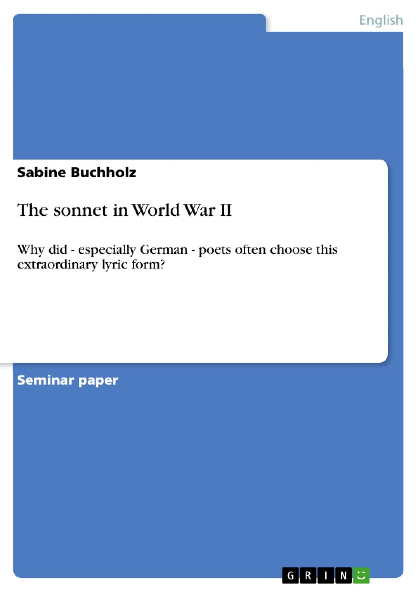 Title: The sonnet in World War II