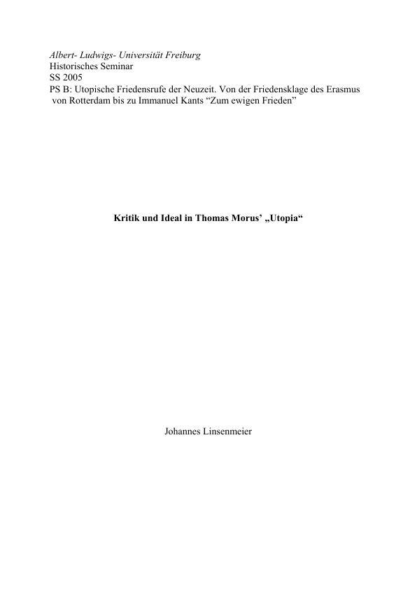 "Titel: Kritik und Ideal in Thomas Morus' ""Utopia"""