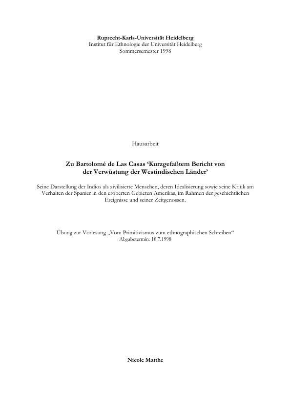 """Titel: Zu Bartolomé de Las Casas """"Kurzgefasstem Bericht von der Verwüstung der westindischen Länder"""""""