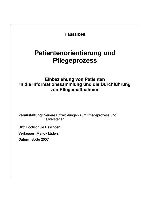 Titel: Patientenorientierung und Pflegeprozess