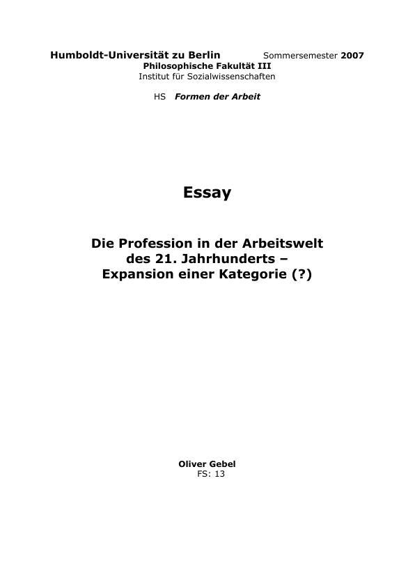 Titel: Die Profession in der Arbeitswelt des 21. Jahrhunderts - Expansion einer Kategorie?