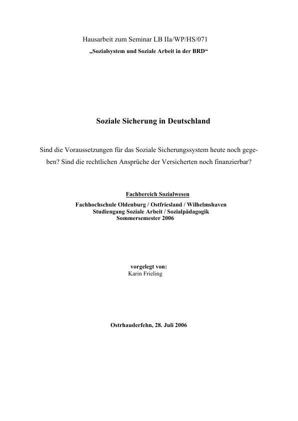 Titel: Soziale Sicherung in Deutschland