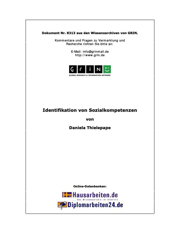 Titel: Identifikation von Sozialkompetenzen