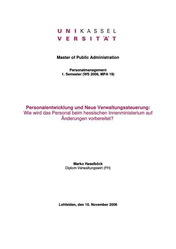 Titel: Personalentwicklung und Neue Verwaltungssteuerung