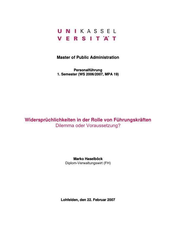 Titel: Widersprüchlichkeiten in der Rolle von Führungskräften - Dilemma oder Voraussetzung?