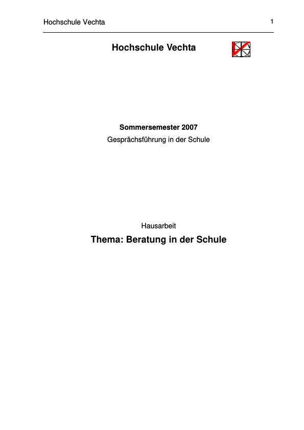 Titel: Beratung in der Schule - Definition und Aufgaben