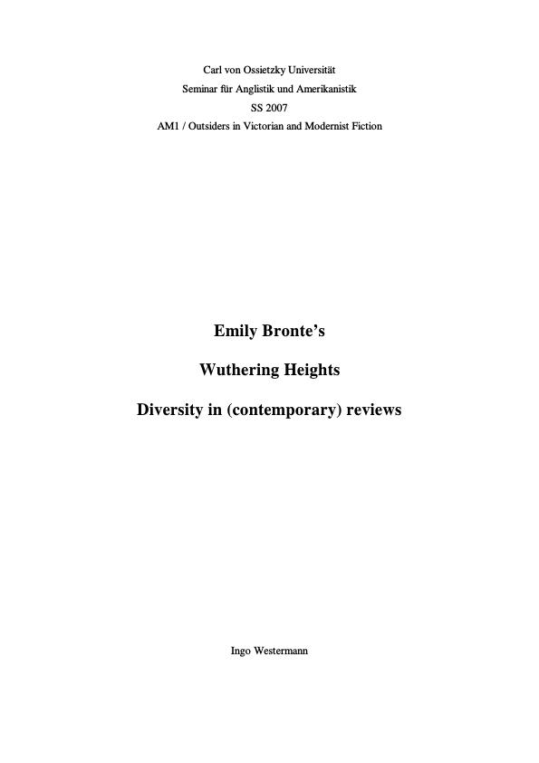 """Title: Emily Bronte's """"Wuthering Heights"""" - Diversity in (contemporary) reviews"""