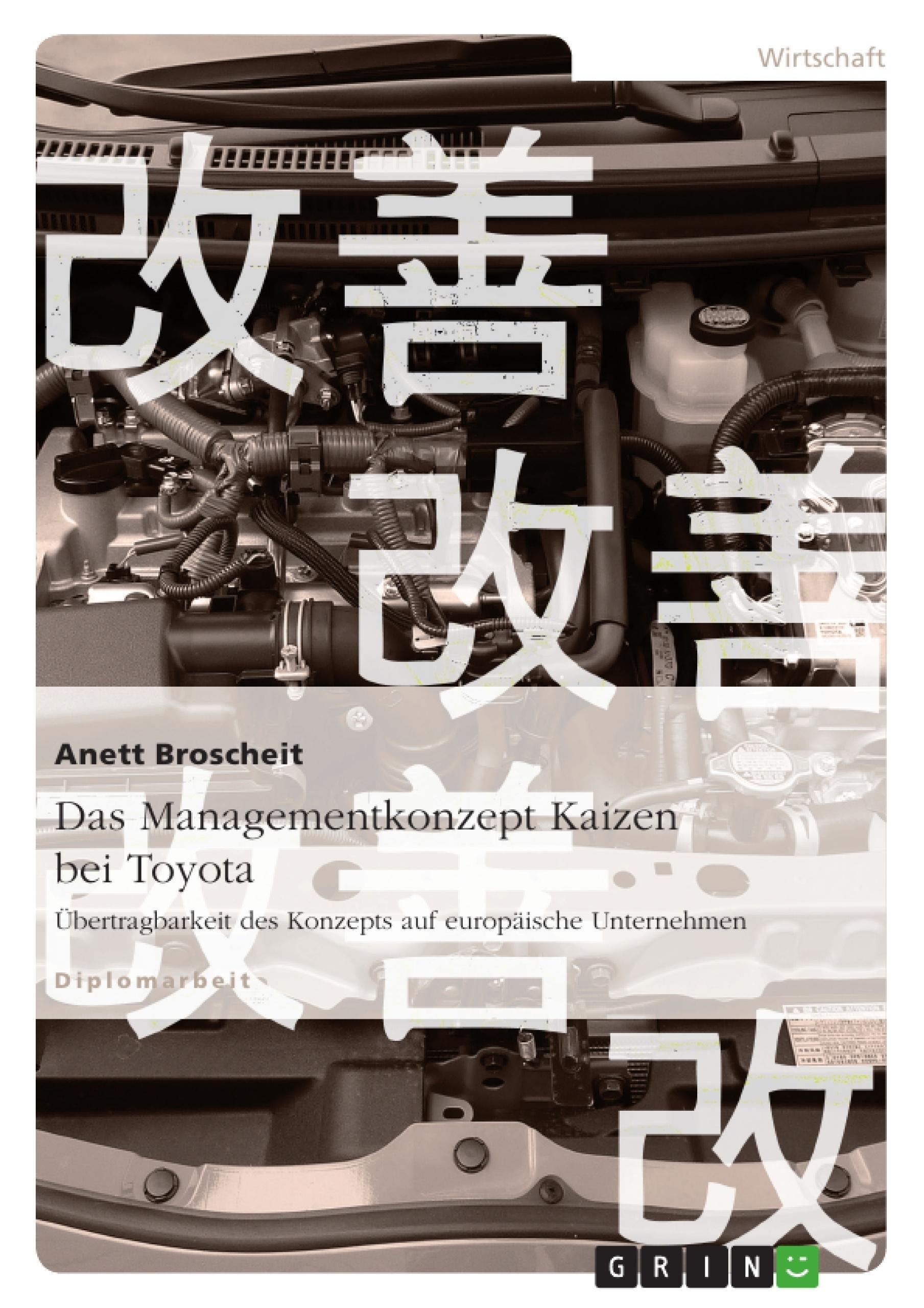 Titel: Das Managementkonzept Kaizen bei Toyota