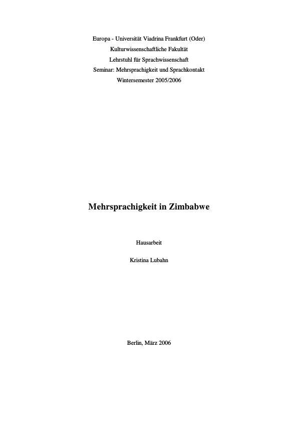 Titel: Mehrsprachigkeit in Zimbabwe