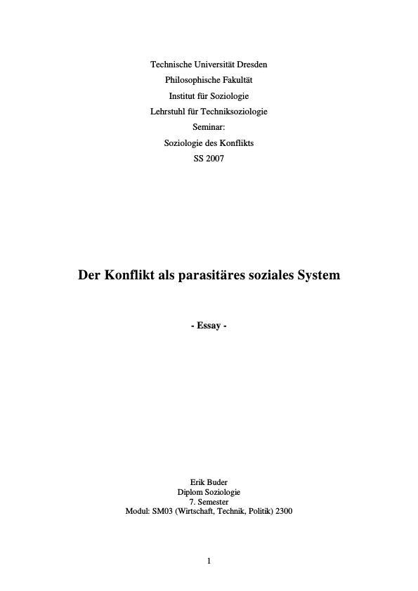 Titel: Der Konflikt als parasitäres soziales System