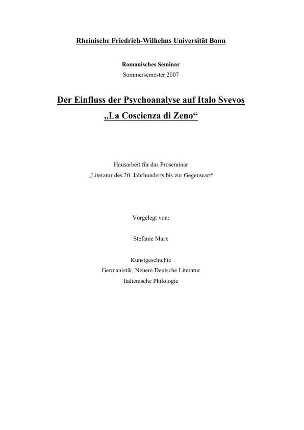 "Titel: Der Einfluss der Psychoanalyse auf Italo Svevos ""La Coscienza di Zeno"""