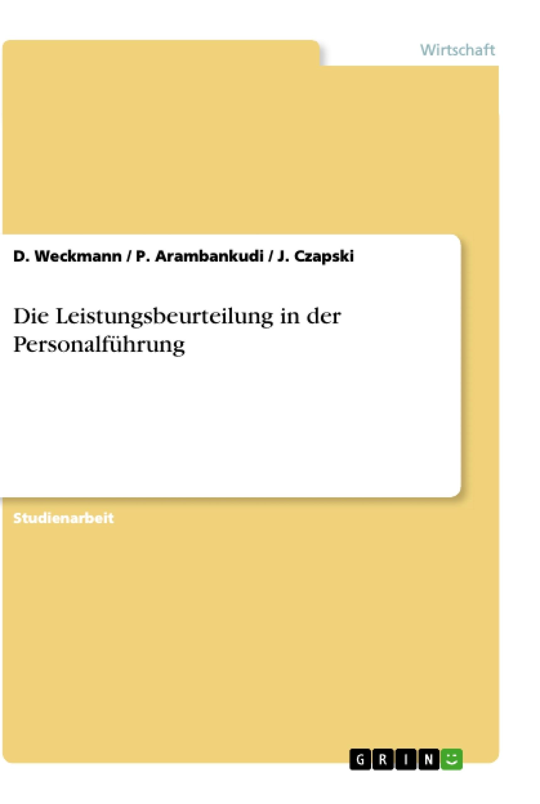 Die Leistungsbeurteilung in der Personalführung | Masterarbeit ...