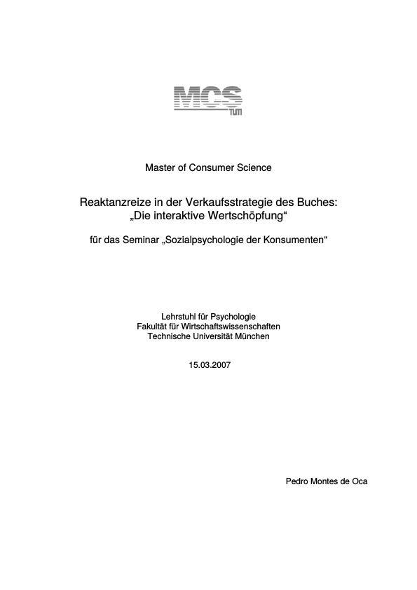 """Titel: Reaktanzreize in der Verkaufsstrategie des Buches """"Die interaktive Wertschöpfung"""""""