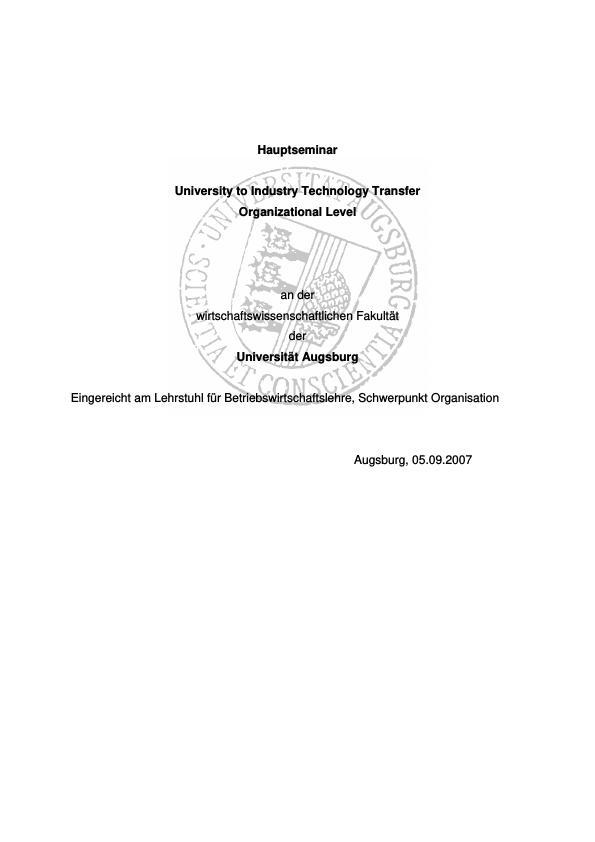 Titel: University to industry technology transfer