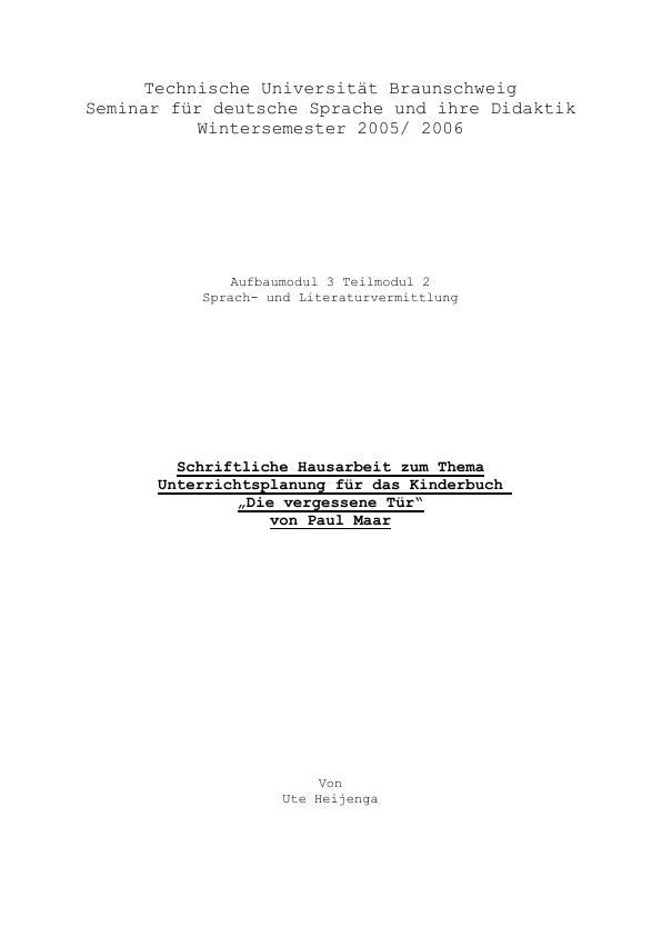 """Titel: Unterrichtsplanung für das Kinderbuch """"Die vergessene Tür"""" von Paul Maar"""