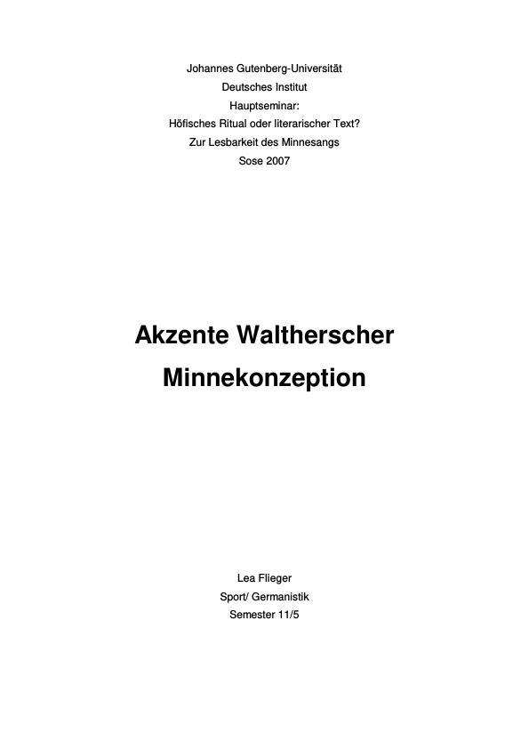 Titel: Akzente Waltherscher Minnekonzeption