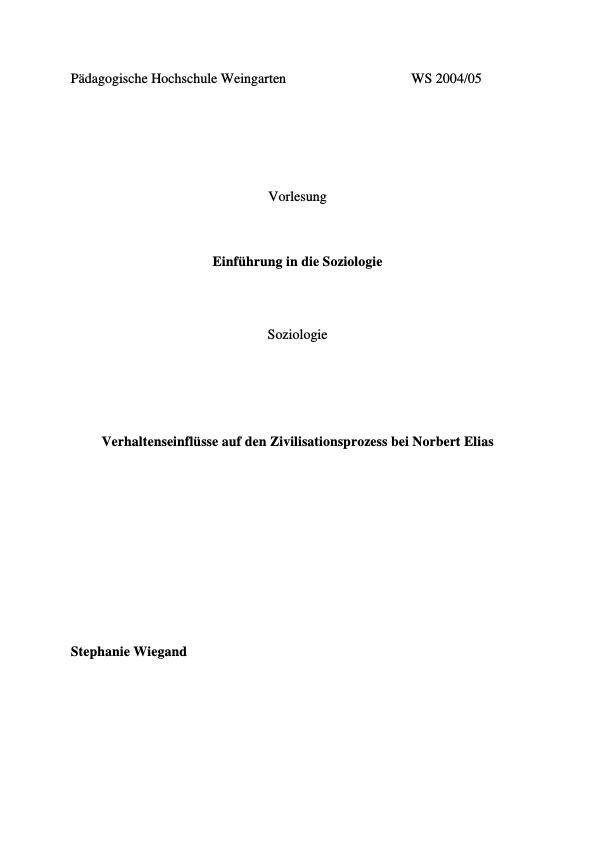 Titre: Verhaltenseinflüsse auf den Zivilisationsprozess bei Norbert Elias
