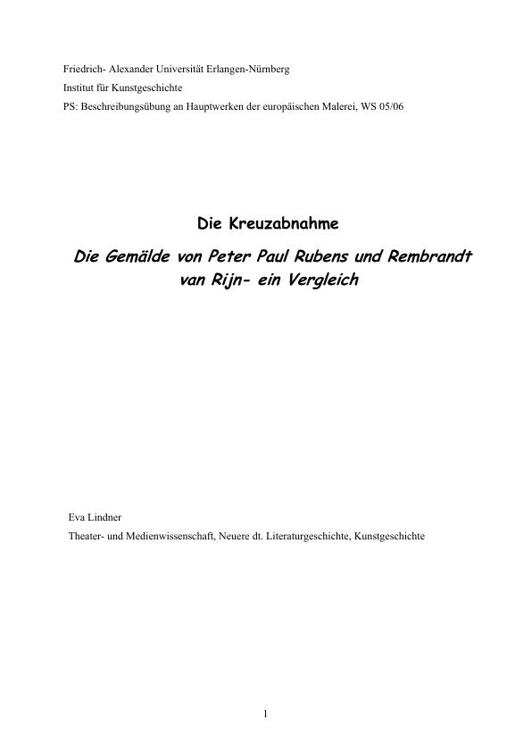"""Titel: """"Die Kreuzabnahme"""": Die Gemälde von Peter Paul Rubens und Rembrandt van Rijn - ein Vergleich"""