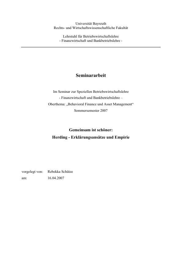 Titel: Gemeinsam ist schöner: Herding - Erklärungsansätze und Empirie