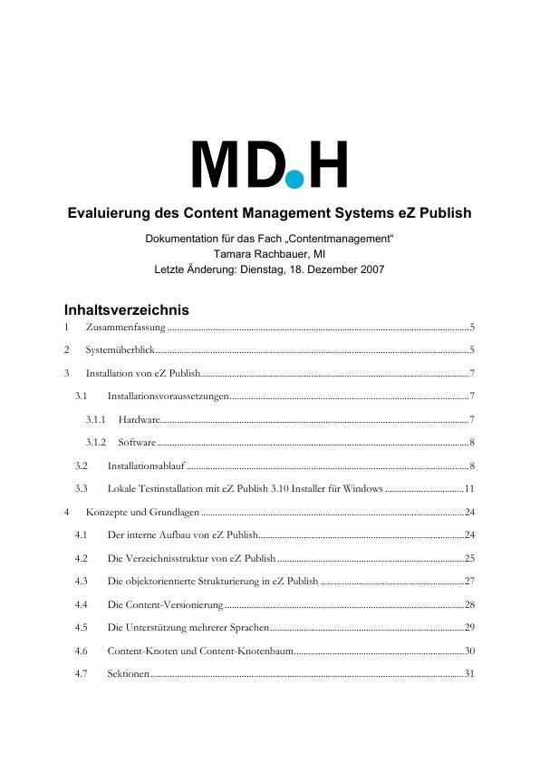 Titel: Evaluierung des Content Management Systems eZ Publish