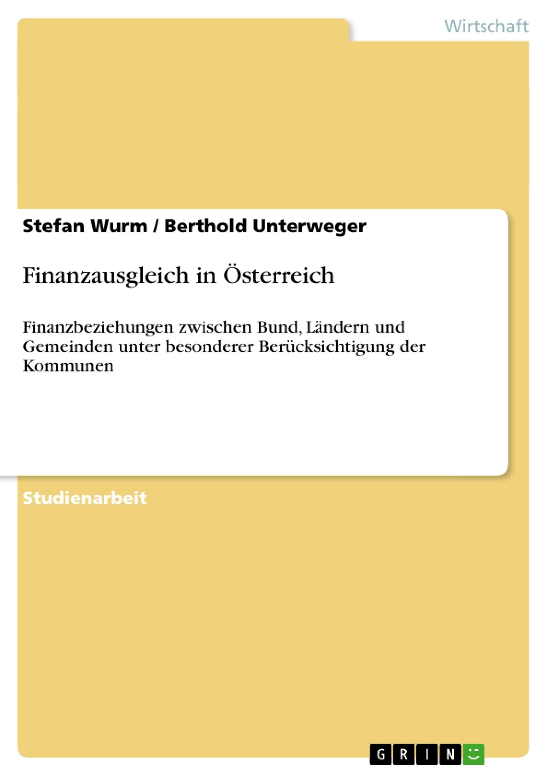 Titel: Finanzausgleich in Österreich