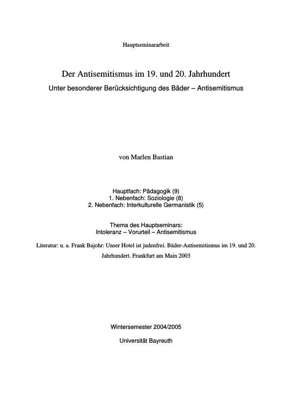 Titel: Der Antisemitismus im 19. und 20. Jahrhundert