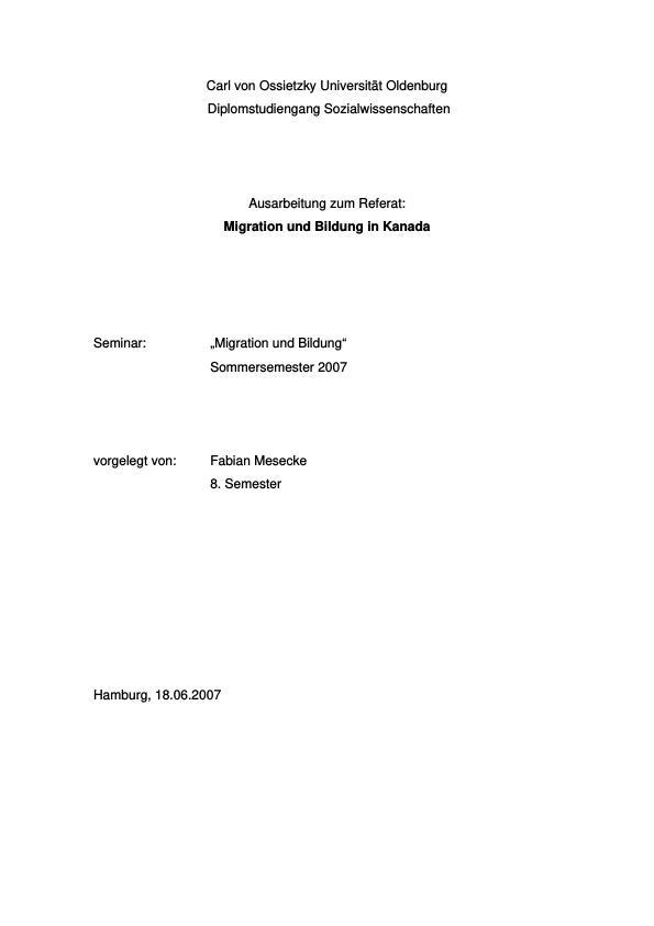 Titel: Migration und Bildung in Kanada