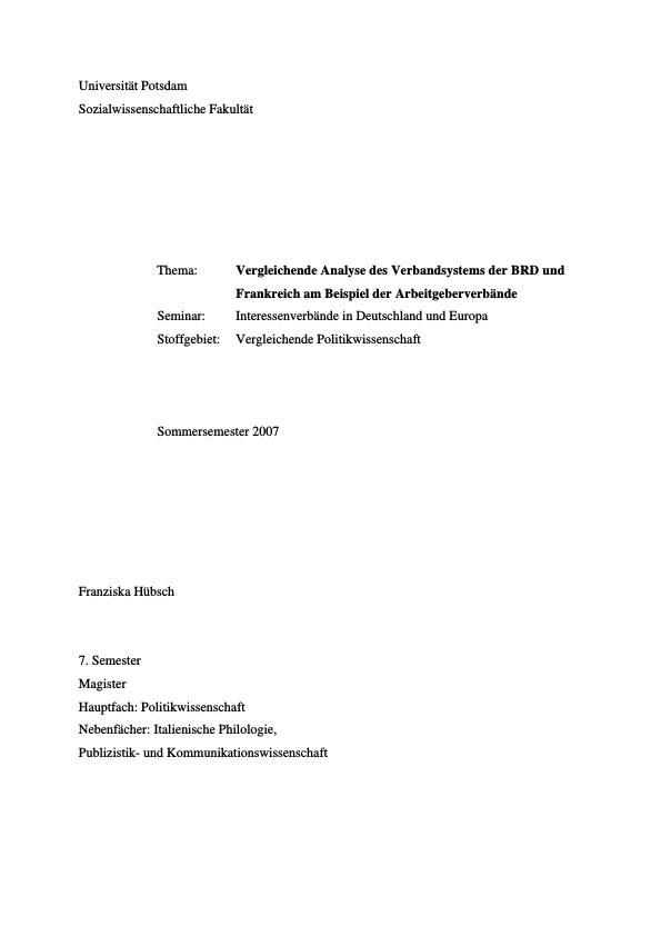 Titel: Vergleichende Analyse des Verbandsystems der BRD und Frankreich am Beispiel der Arbeitgeberverbände