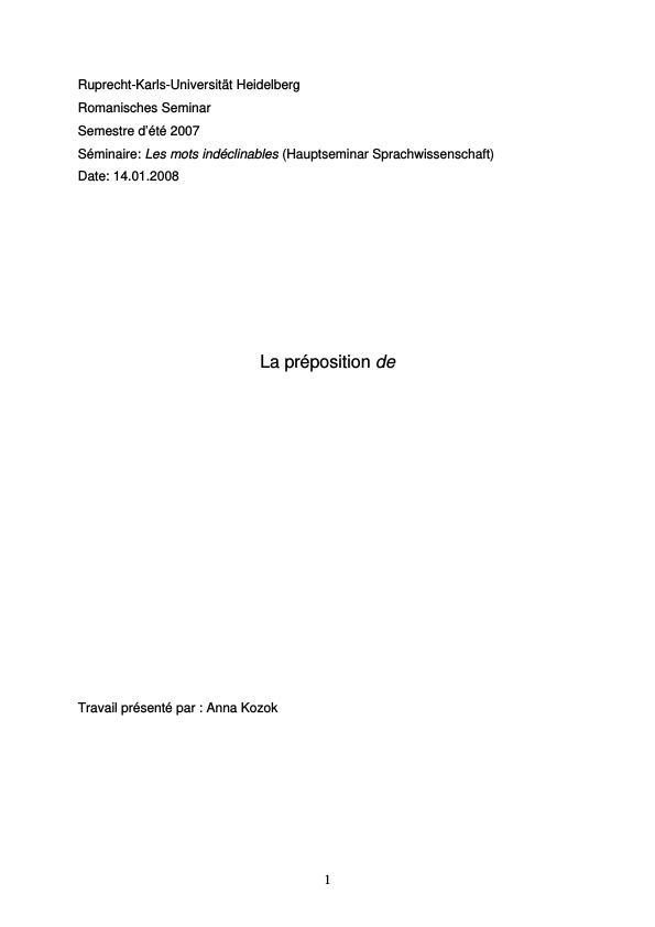 Titre: La préposition DE